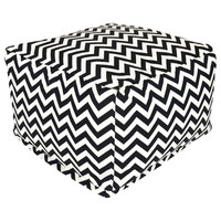 Black and White Chevron Stripe Bean Bag Chair Ottoman