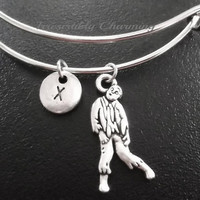 Zombie bracelet, Stainless Steel Expandable Bangle, monogram personalized item No.861