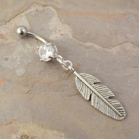 Silver Feather Leaf Belly Button Ring