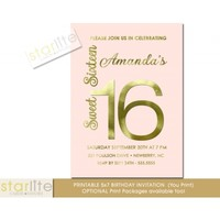 Sweet 16 Invitation, Blush Pink Gold Foil, 16th birthday, Eclectic, glam, sparkly, unique