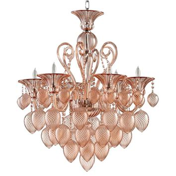 Bella Vetro Murano Glass 8 Light Chandelier | Pink