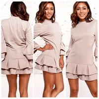 Nude Mini Ruffle Dress
