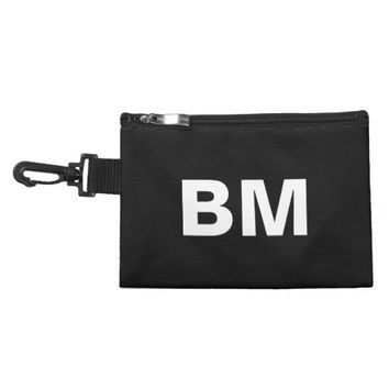 Monogrammed white big bold block letters on black accessories bags