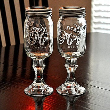 Redneck Wine Glasses Mr Mrs Mason Jar Hillbilly Wine Glasses Custom