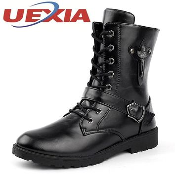 Mens Army Military Boots Outdoor Soft Leather Motorcycle Boots Men Zip Ankle Boots Men Shoes Casual Martin Shoes Botas Hombre