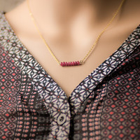 Ruby Stone necklace, real gems, simple necklace, gold filled necklace,