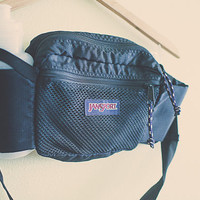 Vintage 80's Jansport Black Fanny Pack 2 Water Bottle Pouches Nylon with Zipper Hipster Fannie Pack Bum Bag Rave Festival Wear Club Kid