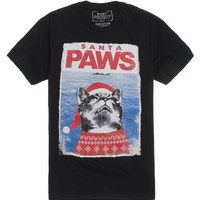 Riot Society Santa Paws T-Shirt - Mens Tee - Black