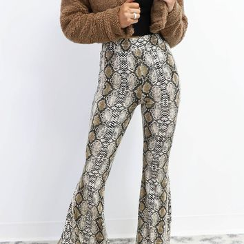 Late Night Snake Print High Waist Bell Bottoms