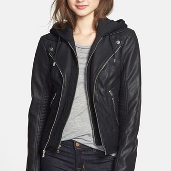 Women's GUESS Faux Leather Moto Jacket with Cable Knit Hooded Bib Inset
