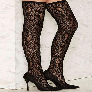 Black Lace High Heel Over knee Sock Boots