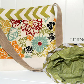 NEW Medium Diaper Bag , Bohemian Style Olive Chevron, Floral and Polka Dots