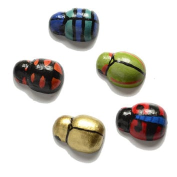 Five tiny beetle magets, hand painted tropical insect art magnets