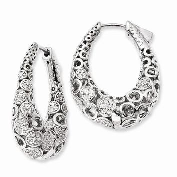 Sterling Silver Patterned Oval CZ Hinged Hoop Earrings, All Sizes