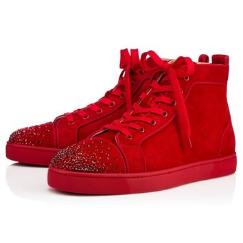 Best Online Sale Christian Louboutin Cl Lou New Degra Flat Version Rougissime Suede 18s Shoes 1180036m623