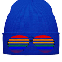 Rainbow sunglasses embroidery - Beanie Cuffed Knit Cap