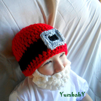 READY TO SHIP - Size 3-8 years - Santa Claus Beard Hat Christmas Gift Idea Bearded Beanie
