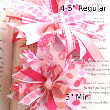 Mini Breast Cancer Awareness Spike Hair Bow - Pink Ribbon Awareness Bow