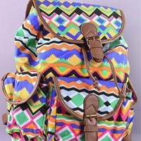 Orange Lime Teal Aztec Tribal Print Accent Buckle Shoulder Strap Backpack
