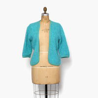 Vintage 60s MOHAIR CARDIGAN / 1960s Curly Boucle Turquoise Wool Cardi Sweater