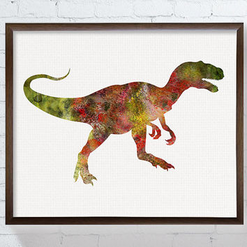 Watercolor Dinosaur, Dinosaur Art Print, Nursery Wall Art, Kids Room Decor, Dinosaur Painting, Baby Boy Nursery, Childrens Room, Allosaurus