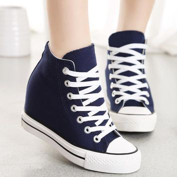 Navy Blue Superstar Wedges Sneaker