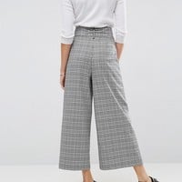 ASOS Tailored Check Culotte with Oversized D-Ring Detail Belt at asos.com
