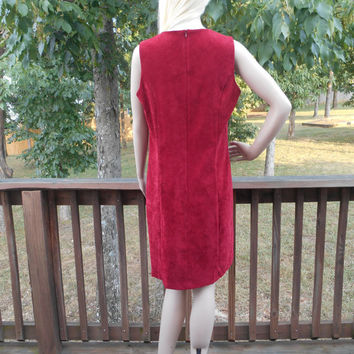 Faux Suede, Sleeveless, Zippered Back, Scoop Neck, Rich Red Color, Sheath Dress - 80s Vintage Dress, Size 14