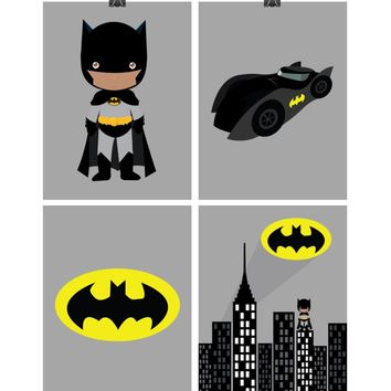African American Batman Superhero Nursery Decor Art Set of 4 Prints - Batman, Batmobile, Cityscape and Bat Symbol