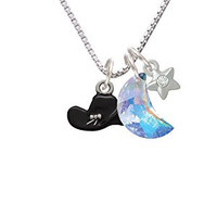 Black Cowboy Hat Crystal Moon and Star Necklace