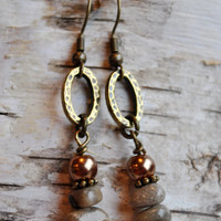 Lake Michigan Petoskey stone nugget earrings with pearls and brass oval hoops. Northern Michigan, Up North