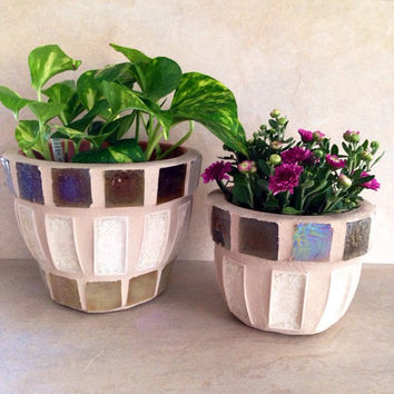 Mosaic flower pot, rustic indoor planter, outdoor planter, garden plant set, kitchen plant storage, handmade mosaic art, patio pots sets