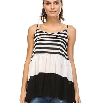 Women's Tiered Halter Stripe Tank