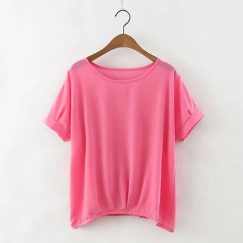 Elastic Short Sleeve Irregular Hem Loose Top