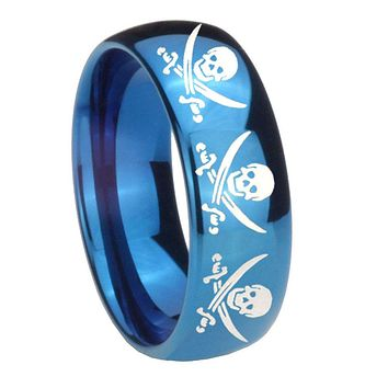 8mm Multiple Skull Pirate Dome Blue Tungsten Carbide Mens Engagement Ring