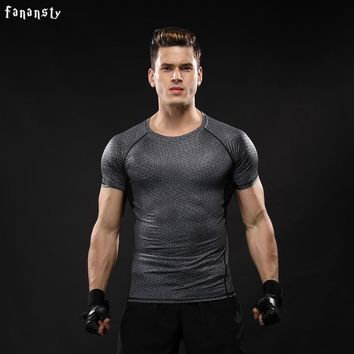 Men sport fitness bodybuilding gym t shirt men lycra compression shirts running basketball crossfit under tee tops