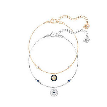 Swarovski | Crystal Wishes Evil Eye Bracelet Set, Blue