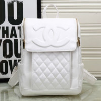 CHANEL Women College Leather Satchel Backpack Bookbag White G-MYJSY-BB