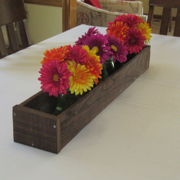 Stained Wood Planter Box • Mason Jar Centerpiece, Long wood box, Candle Holder, Wedding Centerpiece • 41 inches long