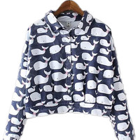 Denim Dolphin Printed Cropped Jacket