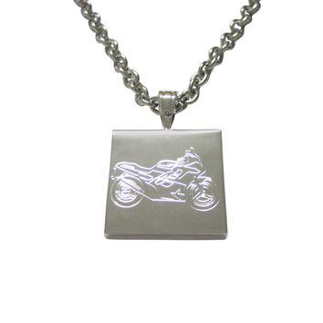 Silver Toned Etched Motorcycle Pendant Necklace