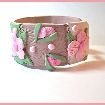 Cuff Bracelet Sage Green, Cocoa and White, Pink Flowers Polymer Clay 1  1/4 in. wide Magnetic Clasp Handcrafted