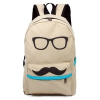 Canvas Glasses & Mustache Laptop Backpack Bag (Beige)