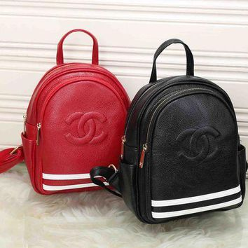 LMFNO CHANEL Women Leather School Satchel Daypack Bookbag Backpack