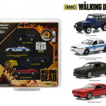 """Hollywood Film Reels Series 4 """"The Walking Dead"""" (2010-Current) TV Series 4 Cars Set 1-64 Diecast Model Cars by Greenlight"""