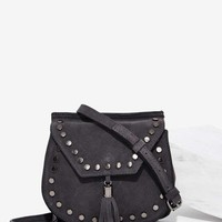 Nila Anthony Back in the Saddle Suede Bag - Gray