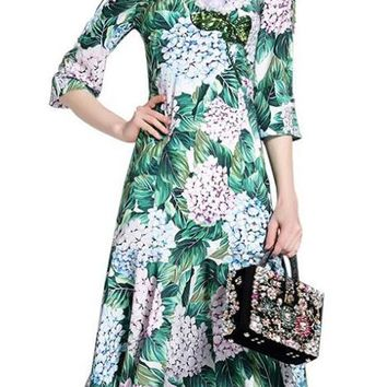Roiii 2018 Fashion Womens Prairie Chic Style Spring Summer Causal Dress Half-Sleeve Print Beauty Sweet Party Holiday Swing Dress
