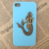 Steampunk Mermaid Blue hard case For Apple iPhone 4 case iPhone 4s case cover