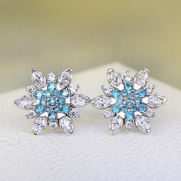 Womens Swiss CZ Crystal Silver Stud Earring +Gift Box