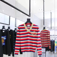 Gucci Cashmere Striped V neck Sweater for Women 110405